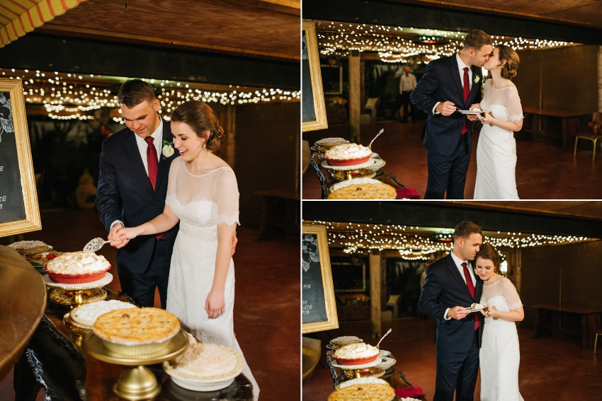 bride and groom cutting the pie at their mismatched vintage pie dessert bar