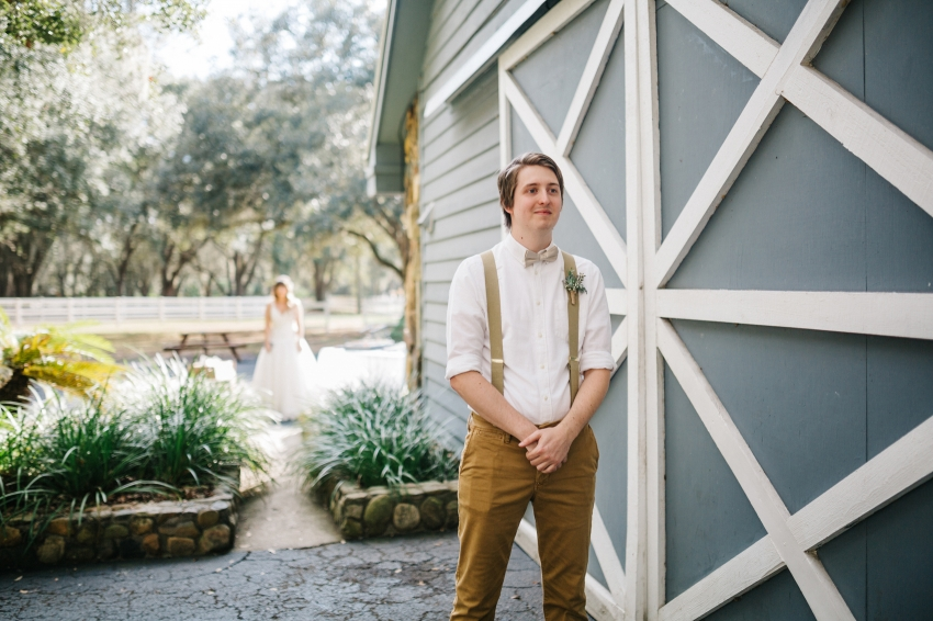 first look in front of the antique barn at the Lange Farm in Dade City, Florida