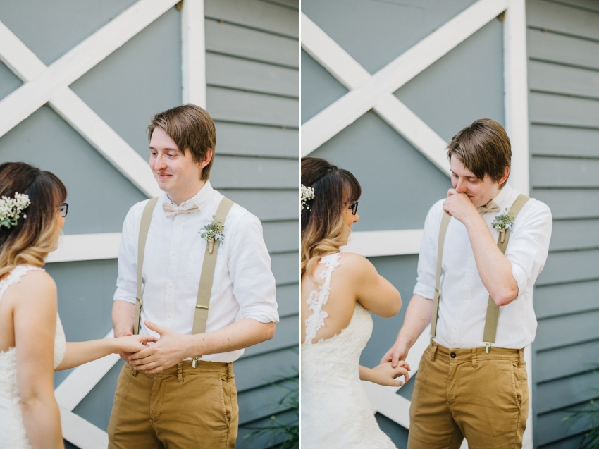 sweet first look with the groom having an emotional reaction