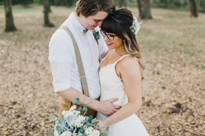 rustic romantic wedding photos in the oak trees at the lange farm