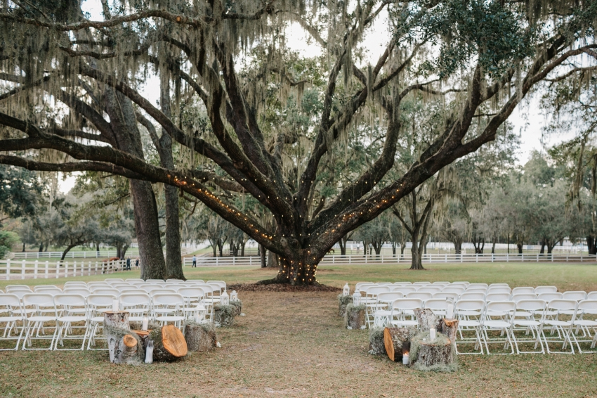 rustic outdoor ceremony under an oak tree at the tampa florida barn venue the lange farm