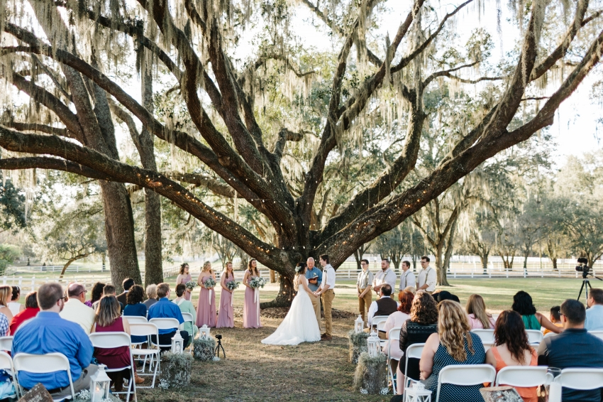 beautiful outdoor ceremony under the oak tree at the lange farm at sunset