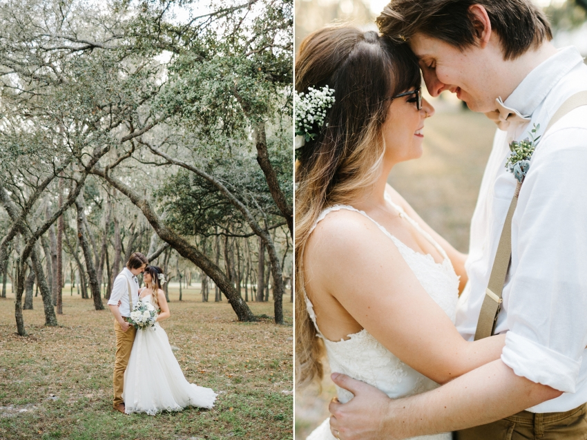 romantic wedding photography at sunset under the rustic oak trees at the lange farm in Dade city, Florida