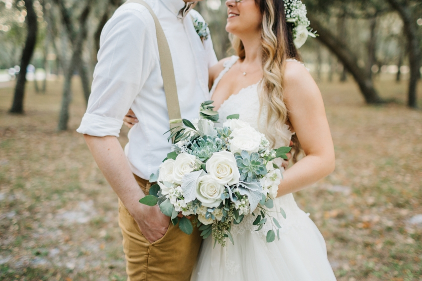 romantic rustic bouquet with succulents and loose greenery