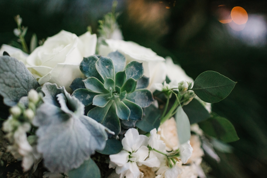 rustic bridal bouquet by 2birds events with succeulents and greenery