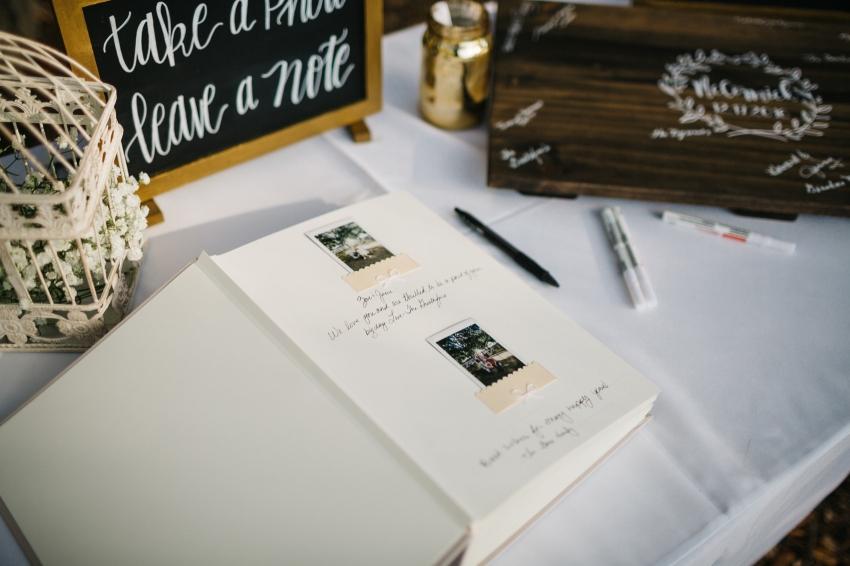polaroid guestbook for rustic farm DIY wedding
