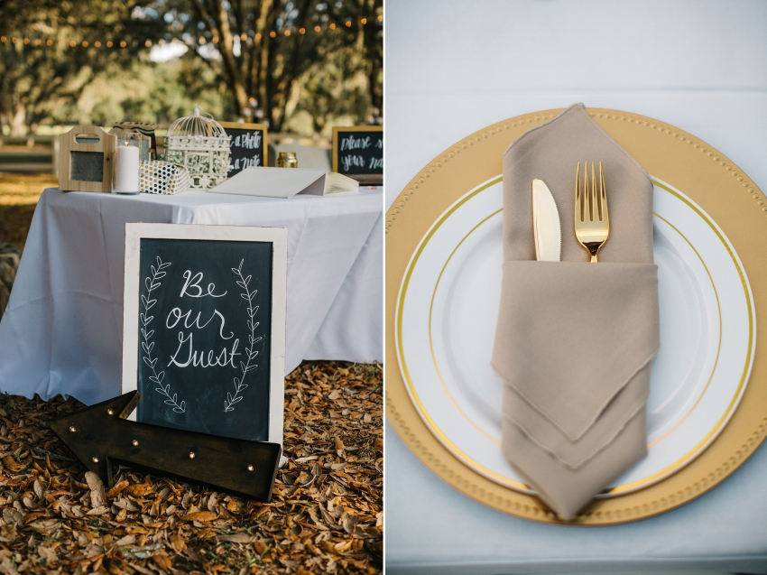 rustic chalkboard, gold flatware, and vintage decor for outdoor wedding at the Lange farm