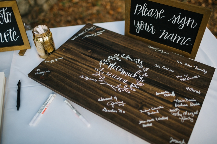 rustic wood guestbook sign