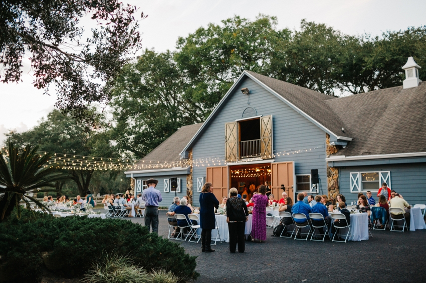 wedding reception outside of the antique barn